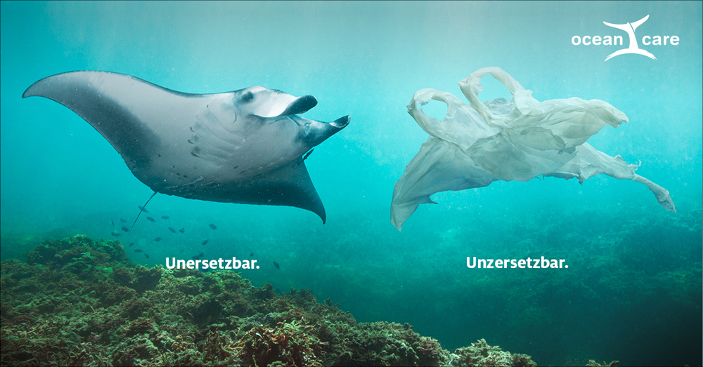 Plastikmüll Visual von OceanCare: Vergleich Mantarochen und Plastiktüte mit Text Unersetzbar- Unzersetzbar